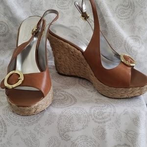 Jessica Simpson Tan Woven Bottom Wedges